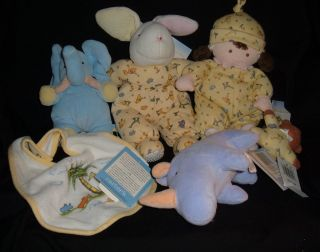 Yoko John Lennon 1999 Baby Doll Bunny Bib Blue Elephant Rhino Tags