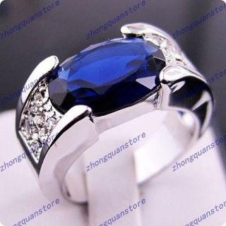 Brand New sapphire mens 10KT white Gold Filled Ring size9/10/11 free