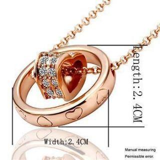 Rose Gold GP Swarovski Crystal Heart & Circle Combine Necklace BN132