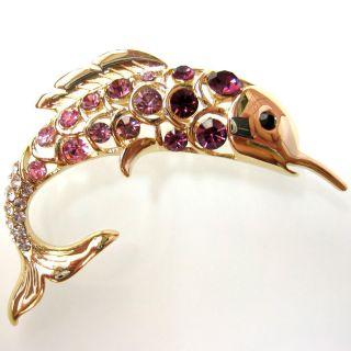 Gold plated Purple pink Crystal Rhinestone Fish Pin Brooch BH7186