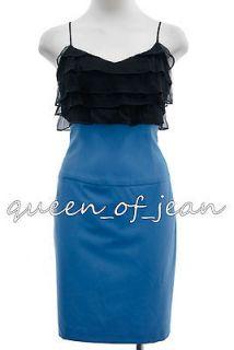 NWT $375 BLACK HALO RUFFLED CAMISOLE DRESS PENCIL BLACK/ BLUE SILK