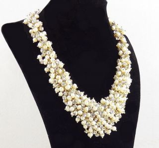 CREW Crystal Pearl Cluster Bib Statement Necklace