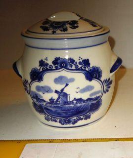 Delft Blue; Holland; Bowl w/ lid; Marnes Mustard, Groningen; Elesva