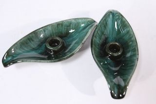Pair of Vintage Blue Mountain Pottery Candle Candlestick Holders