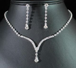 CLEAR AUSTRIAN RHINESTONE CRYSTAL NECKLACE EARRINGS SET BRIDAL N1277