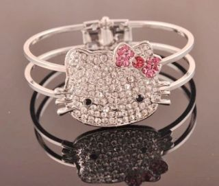 Cute hello kitty Pink Bow Crystal Can open Bracelet Lovely Xmas Gift