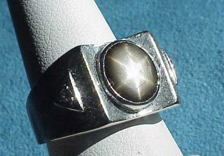 BLACK STAR SAPPHIRE 14Kt WHITE Gold Diamond Mens Size 7 Ring Gents
