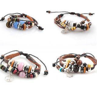Mens Cord Bracelet Hemp Surfer &Braided Leather Wristband Bracelets