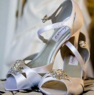 Shoe Clips Vintage Style Rhinestones Pearls set of 2 Bridal Wedding