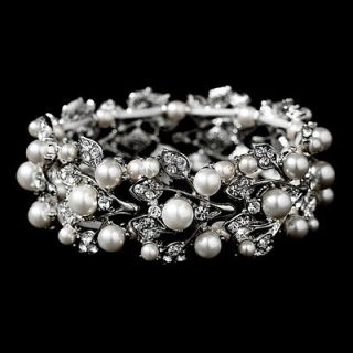 Bridal Wedding Jewelry Crystal Rhinestone Pearl Leaf Stretch Bracelet