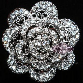 BOUQUET CAKE DECORATION WEDDING BRIDAL ROSE RHINESTONE CRYSTAL BROOCH