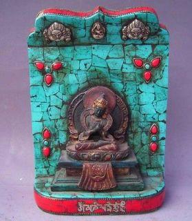 Tibet Tibetan Buddhist Turquoise Vajrasattva Buddha Wood Shrine Statue
