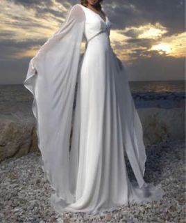 White/Ivory Chiffon Long Vintage Beach Wedding Dress Bridal Prom Gown