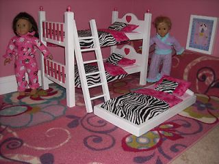 SWEET HEART TRUNDLE BUNK BED FOR THE AMERICAN GIRL DOLL W/ 15PC