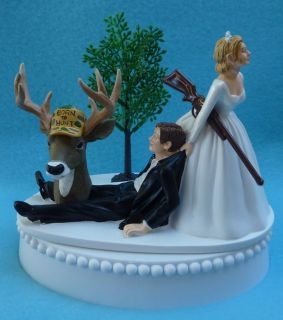 Wedding Cake Topper Deer Hunter Hunting Rifle Themed FREE Garter