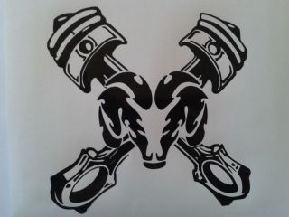 dodge ram head with pistons decal window or bumper sticker