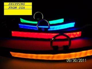 Color LED Flashing Lighting Safety Pet Dog Nylon Flat Collar Fashion