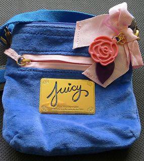 JUICY COUTURE Blue Velour MESSENGER BAG Cross Body CHARMS Heart VELVET