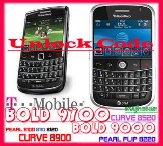AT&T BLACKBERRY UNLOCK CODE BOLD 9000 9800 9810 CURVE 8900 8520 9700