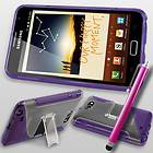 Purple Gel Case Stand For Samsung Galaxy Note i9220 + Stylus & Screen