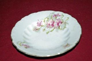 LS&S Carlsbad Austria Antique Pink Carnations Dessert Fruit Berry Bowl