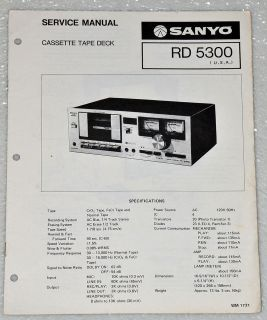SANYO RD5300 STEREO CASSETTE DECK PLAYER Original Service Manual