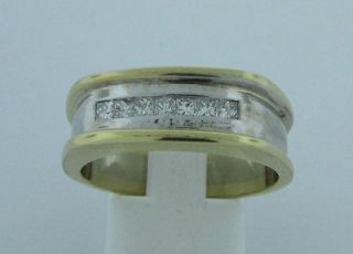 14K Two Tone Gold Mans .35 carat Diamond Ring Size 10 1/2 US U 1/2