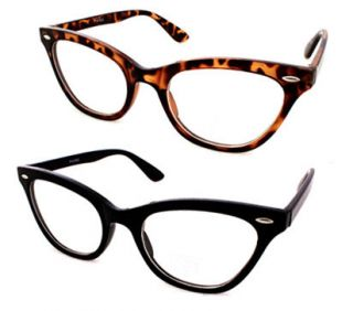 Retro Vintage Style Clear Lens Cat Eye Frame Glasses 1415CL