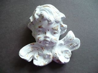Cherub Angel Face Ceramic Wall Hanging Shabby Chic Cottage Style
