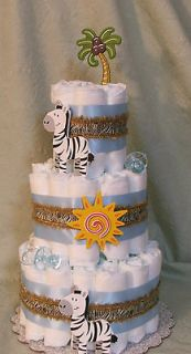 Diaper Cake ZEBRA, Jungle,,Zoo, Safari Animals Baby Shower Centerpiece