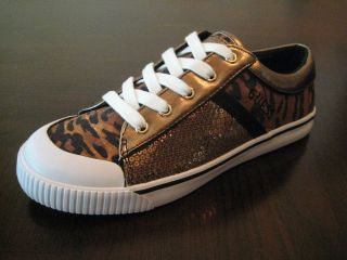 GUESS Carlin Gold & Black Leopard Sequins Patchwork sneakers   CHOICE