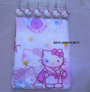 Kitty Shower Curtain With 12pcs Cute Hello Kitty shower curtain Hooks