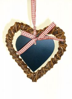 SMALL WICKER & CHALKBOARD HANGING HEART WREATH WEDDING RUSTIC COUNTRY