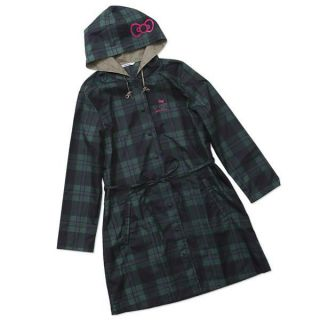 Hello Kitty Rain Coat Sanrio Black watch Polyester Womens free size