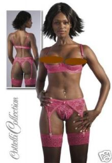 Open Bust Pink 1/4 Cup Bra Suspender Belt & Thong Set