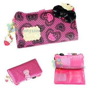 Hello Kitty 7 Sequin Leatherette Card Holder Money Purse Case Long