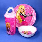 Barbie Pink White My Fab Mealtime 3 piece set plate bowl tumbler NEW