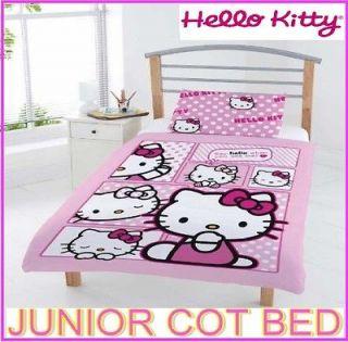 HELLO KITTY COMIC KITTY JUNIOR TODDLER COT BED SET DUVET PANEL QUILT
