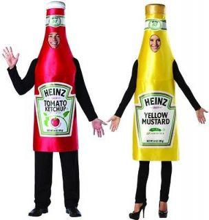 Heinz Classic Mustard Bottle & Ketchup Adult Couples Costume Set