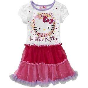 New 1 PC Hello Kitty Dress Tunic Shirt Skirt Tutu Toddler Girl Size