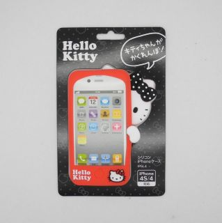 Sanrio Hello Kitty Hide and Seek series black silicon iphone 4/4S case