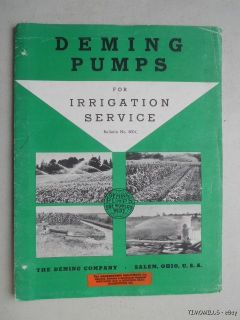 1954 Deming Irrigation Pump Catalog Binder Vintage Original Farm