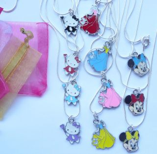 Childrens Necklace on Silver Snake Chain Hello Kitty, Minnie Mouse or