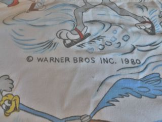 1980 Warner Brothers Looney Tunes Hockey Twin Single Bed Flat Sheet