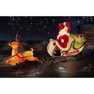 Lifesize Santa Sleigh w/ Reindeer Christmas Blow Mold NEW