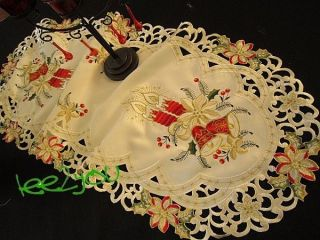 Christmas Embroidered Table Runner Poinsettias, Candles, Bells, Holly