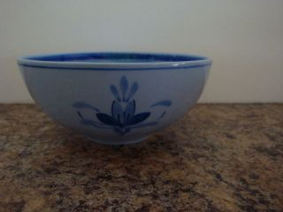 PETRUS REGOUT CO. MAASTRICHT Blue Band Lotus Flower Bowl HOLLAND