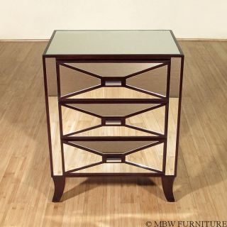Chic Mosaic Mirrored End Accent Table Mirror Tiled Nightstand