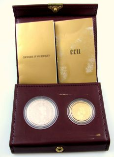 1987 Belgium 50 & 5 Ecu Gold & Silver Proof Coin Set Treaty of Rome w