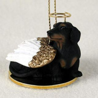Dachshund Dog Figurine Angel Statue Black
